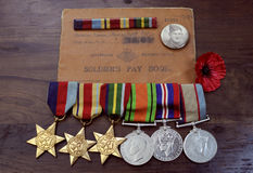 Australian Army World War II campaign medals Royalty Free Stock Photo