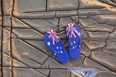 Australian Australia Flag Thongs Background Royalty Free Stock Images