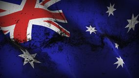 Australia grunge dirty flag waving on wind. Australian background fullscreen grease flag blowing on wind. Realistic filth fabric texture on windy day Stock Photo