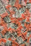 Australian bank notes. Background of overlapping 20 or twenty dollar Australian banknotes Stock Photography