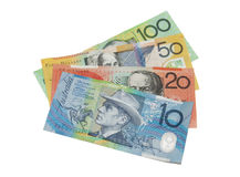 Australian banknotes. Set of Australian banknotes fanned out in 10, 20, 50 and 100 denomination. Isolated on white background Stock Photo