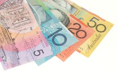 Australian banknotes. On plain white background Royalty Free Stock Images