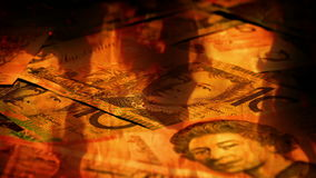 Australian Banknotes Rotating In Fire stock video footage