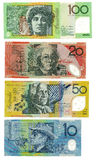 Australian banknotes. Set of four Australian Dollars banknotes in 10, 20, 50 and 100 value, isolated on white background. Very large file stock image