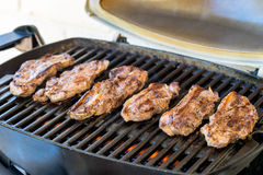 Australian BBQ lamb. Delicious Australia Day BBQ. Marinated boneless pieces of Australian lamb cooked on grill royalty free stock photo