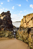 Australian beach coastline at 'Delicate Nobby'. Highlighting rock formations Royalty Free Stock Photography