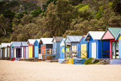 Australian Beach Huts. Beach huts at Mills Beach on a summer's day in Mornington, Victoria, Australia royalty free stock image