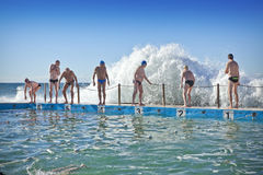 Australian Beach Ocean Pool Wave Swimming stock photography