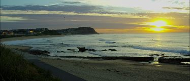 Australian beach at sunrise stock video footage