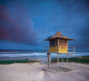 Australian beach at twilight with lifeguard Stock Photos