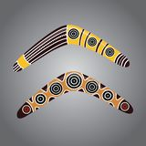 Australian boomerang vector. Illustration based on aboriginal style of boomerang Stock Image
