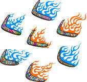Australian Boomerangs with Flames. Set of color vector illustrations Stock Illustration