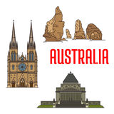 Australian buildings and landmarks icons Royalty Free Stock Images