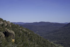 Australian Bushland Mountains. A wide angle shot of Australian rocky bushland mountains Stock Images