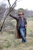 Australian Bushman. In an Akubra hat in the wild outback Stock Photo