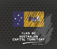 Australian Capital Territory flag, vector sketch hand drawn illustration on dark grunge background. Vector sketch map of the Australian Capital Territory with Royalty Free Illustration
