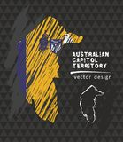 Australian Capital Territory national vector map with sketch chalk flag. Sketch chalk hand drawn illustration. Vector sketch map of the Australian Capital Stock Image