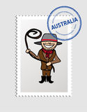 Australian cartoon person postal stamp Stock Image