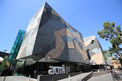 Australian Centre for the Moving Image at Federation Square in Melbourne. MELBOURNE, AUSTRALIA - JANUARY 22, 2019: Australian Centre for the Moving Image at royalty free stock image