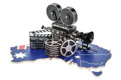 Australian cinematography, film industry concept. 3D rendering. Isolated on white background Royalty Free Stock Images