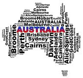 Australian Cities info text graphics. And arrangement concept (word clouds) on white background Stock Images