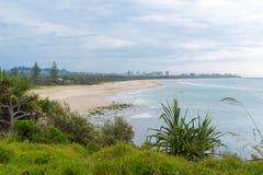 Australian coastal sand beach view from Fingal Head, Australia. Fingal Head, NSW, Australia- December 22, 2017: Australian coastal sand beach view from Fingal Royalty Free Stock Photography