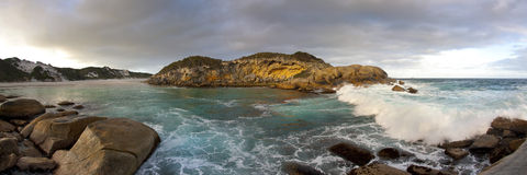 Australian Coastline. A panoramic view of Nanarup beach with the waves rolling in Stock Photo