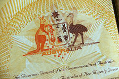 Australian Coat of Arms. In the Australian passport stock photos