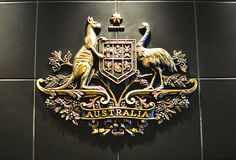 Australian coat of arms. HO CHI MINH CITY, VIETNAM - MARCH 6: Australian coat of arms in australian consulate in Ho Chi Minh City, Vietnam on March 6, 2015. The Stock Images