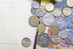 Australian coins. The random stacking Australia banknotes and coins Stock Photos
