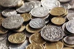 Australian Coins Background. Australian money.  Scattered coins in full-frame background Royalty Free Stock Image