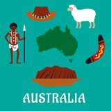 Australian conceptual travel icons and landmarks Royalty Free Stock Photo