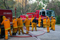 Australian Country Fire Authority fire fighters in Melbourne. Fire fighters from the North Warrandyte brigade of the Country Fire Authority in Victoria royalty free stock photography