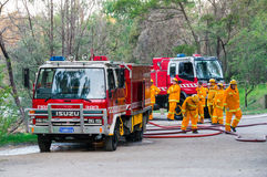 Australian Country Fire Authority fire fighters in Melbourne. Fire fighters from the North Warrandyte brigade of the Country Fire Authority in Victoria Royalty Free Stock Photos