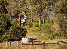 Australian countryside with gumtrees and windmill royalty free stock photo
