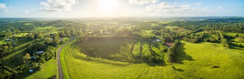 Australian countryside landscape at sunset. Royalty Free Stock Photo