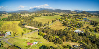 Australian countryside - meadows, pastures, and hills aerial pan. Orama. Myrtleford, Victoria, Australia Royalty Free Stock Image
