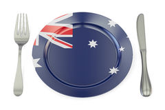 Australian cuisine concept, plate with flag of Australia. 3D ren Royalty Free Stock Image