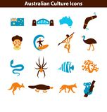 Australian Culture Icon Set. Colorful National Signs and Landmarks. Australian Culture Icons, Culture Signs of Australia, Traditions of Australia, Australian royalty free illustration