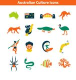 Australian Culture Icon Set. National Signs and Landmarks. Australian Culture Icons, Culture Signs of Australia, Traditions of Australia, Australian Life royalty free illustration