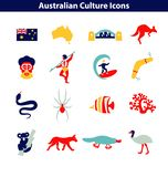 Australian Culture Line Icon Set. National Signs and Landmarks. Australian Culture Icons, Culture Signs of Australia, Traditions of Australia, Australian Life royalty free illustration