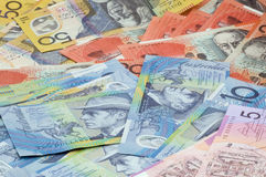 Australian currency. Picture full of various Australian dollar bank notes Royalty Free Stock Photo