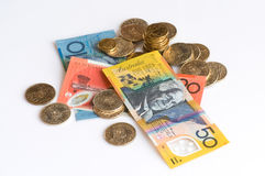 Australian Currency. Banknotes and coins Royalty Free Stock Photography