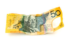 Australian Currency. Crumpled Australian fifty dollar note Stock Photography