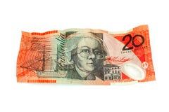 Australian Currency. Crumpled Australian twenty dollar note Stock Photo