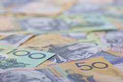 Australian Currency close-up. 50,100 par value of Australian banknotes close-up Royalty Free Stock Photography