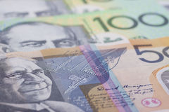 Australian Currency close-up. 50,100 par value of Australian banknotes close-up stock images