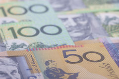 Australian Currency close-up. 50,100 face value of the Australian dollar banknotes closeup Royalty Free Stock Photos