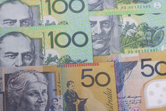 Australian Currency close-up. 50,100 face value of the Australian dollar banknotes closeup Royalty Free Stock Photo