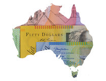 Australia, Australian dollars background currency map Royalty Free Stock Photography